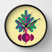 Vegetable: Beetroot Wall Clock by Christopher Dina | Society6