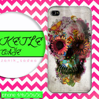 skull aztec flower case, wood iphone case, iphone 4 case iphone 5c case, samsung gaxaly S3 case, samsung gaxaly S4 case