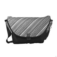 Aztec Print Black and White Messenger Bag