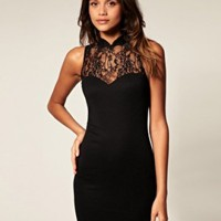 Simple Elegant Little Black Dress With Lace