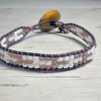 Single Wrap Bracelet, Minimalist Bead Bracelet, Geometric Design Bracelet