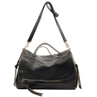 Metallic Rivets Double Handle Purse Handbag Black Shoulder Bag