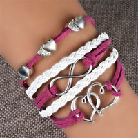 Infinity Braided Leather Bangle Bracelet | Pugster.com