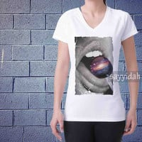 lip galaxy , V-Neck Beautyful Design By : Sayyidah