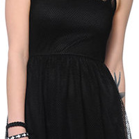 Free To Fly Black Mesh Skater Dress