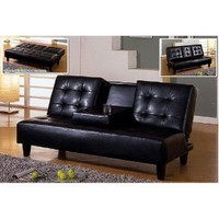 NEW Black Bi-cast Leather Sleeper Futon Sofa with Cup Holders