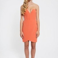 Orange Strapless Mini Drape Dress