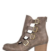 Buckled Up Cut Out Ankle Boots