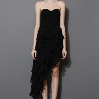 Black Asymmetric Tiered Ruffle Bustier Dress