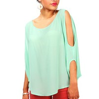 Bare Batwing Blouse | Chiffon Tops at Pink Ice
