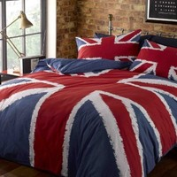 SUPERB COTTON USA QUEEN (230 X 220CM - UK KING SIZE) UNION JACK RED WHITE BLUE COTTON DUVET SET QUILT COVER SET COMFORTER COVER SET #KJINU *RH*