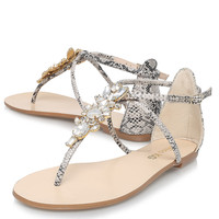 **BEIGE FLAT T-BAR SANDALS BY MISS KG
