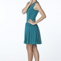 Blue Low-waisted and Sleeveless Chiffon Dress