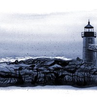 """Lighthouse, Marshall Point, Maine"" - Art Print by Dana Martin"