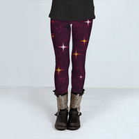 Stars Pattern Art Print Leggings by Daniel Ferreira-Leites