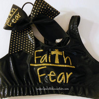 Faith over Fear Metallic Sports Bra and Bow Set Cheerleading Black/Gold
