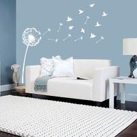 Wall Decal Vinyl Sticker Decals Art Decor Design Dandelion Flower Bird Nature Plants Botanic Grass Forest Bedroom Living Room Nursery (r461)