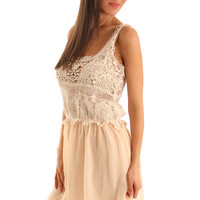 Ivory Peach Sexy Crocheted Hi-Low Dress