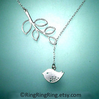 White Gold Leaves & bird necklace Adjustable by RingRingRing