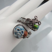 Antique Copper Wire Wrapped Skull Ring with Mood Bead