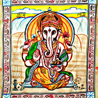 84x90 Ganesh Tapestry, Ganesha wall art, ganesha wall art hanging Indian Tapestry, Cotton Ganesha Bed Cover Wall Hanging bedsheet bedspread