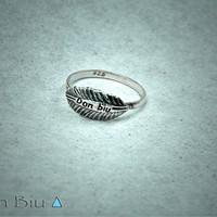 Sterling Silver Leaf Feather Ring ▲DON ⊕ BIU▲
