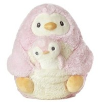 "Aurora World Mommy and Baby Pink Penguin Plush, Mommy 8"", Baby 4"""