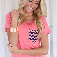 Chevron On My Pocket Top Coral