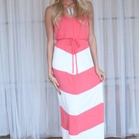 Summer Sailing Maxi Dress Coral