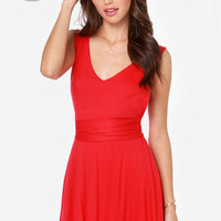 LULUS Exclusive World Go 'Round Red Dress