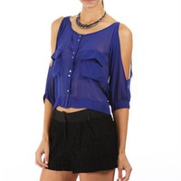 Royal Blue Chiffon Cold Shoulder Top