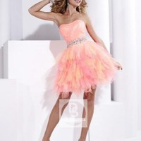 A-line Strapless Pink Ruffled Organza Short/Mini Dress at Dresseshop