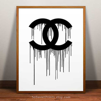 Chanel Print, Chanel Poster, Chanel wall art, Coco Chanel art, Chanel dripping, Chanel decor print, Chanel home decor, 8x10, 11x14, 16x20