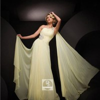 Sheath/Column One Shoulder Light Yellow Beading Chiffon Floor-length Dress at Dresseshop
