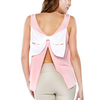 Papaya Clothing Online :: BACK CHIFFON BOW CUT OUT NECKLACE TOP