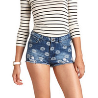 DAISY PRINT CUT-OFF HIGH-WAISTED DENIM SHORTS