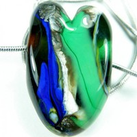 Blue And Green Large Hole Lampwork Glass Heart Bead With Silver Necklace | Covergirlbeads - Jewelry on ArtFire