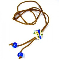 Leather Adjustable Necklace With Cobalt Blue And Ivory Lampwork Bead | Covergirlbeads - Jewelry on ArtFire