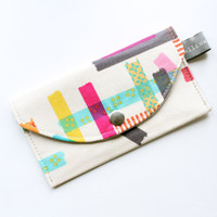 Business Card Holder, Neon Pink, Aqua, White Geometric, Small Wallet, Card Case