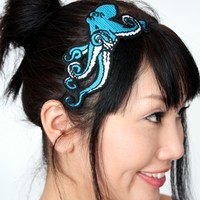 Octopus Embroidered Headband in Deep Turquoise