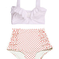 White Padded Top and White Red Polka dot dots Retro Vintage High Waisted Swimsuit Swimwear Bikini Swimsuits Sailor Bathing suit suits S M L