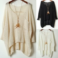 A 082201 Simple Round Neck Sweater Loose Bat Perspective