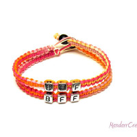 Bracelets for Best Friends, BFF, Pink and Orange Macrame Hemp Jewelry, Sherbert, Free North American Shipping