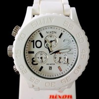 NIXON The Rubber 42-20 Chrono WHITE Dial Strap WATCH *FREE SHIPPING*