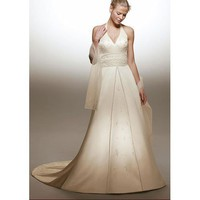 Empire V-neck Halter Top Chapel train  Satin wedding dress for  brides  2011 Style(WDA1636) - Empire - Wedding Dresses