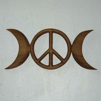 Triple Moon Peace Symbol-Celtic Goddess-Wiccan Pagan Peace Sign-Hippie | signsofspirit - Woodworking on ArtFire