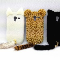 White 3D Charming Smile Cat Classic Cute Lovely Special Party Plush Leopard Tail Ear Cat Case Cover For Smart Mobile Phones (Samsung Galaxy Exhibit T599 (T-Mobile), Leopard Tail)