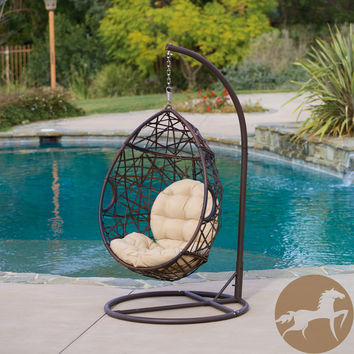Christopher Knight Home Outdoor Brown Wicker Tear Drop Swinging Chair