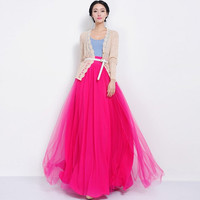 Hot Pink Floor Length Tulle Full Pleated Skirt A-line Long Maxi Bohemian Boho Wedding Bridesmaid Evening Party Holiday Prom Ball Gown Event