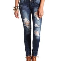 DARK WASH DESTROYED SKINNY JEANS
